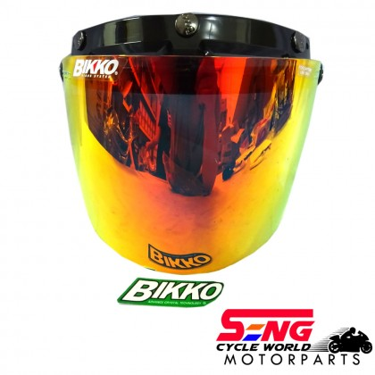 BIKKO HELMET VISOR (CRYSTAL GREEN & ORANGE)